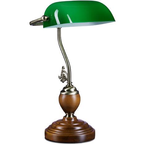 Lampe de Bureau Banquier avec Abat-Jour en Verre Vert