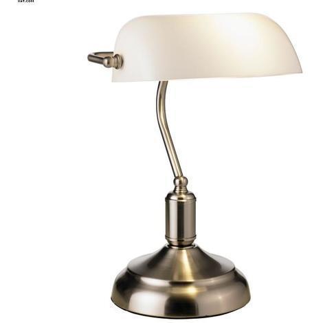 Lampe de bureau banquier Lo design Bank Nickel satiné Métal - Verre LO00013895