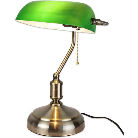 Lampe de Bureau Banquier - Opaline verte - 37 CM - avec Chaînette