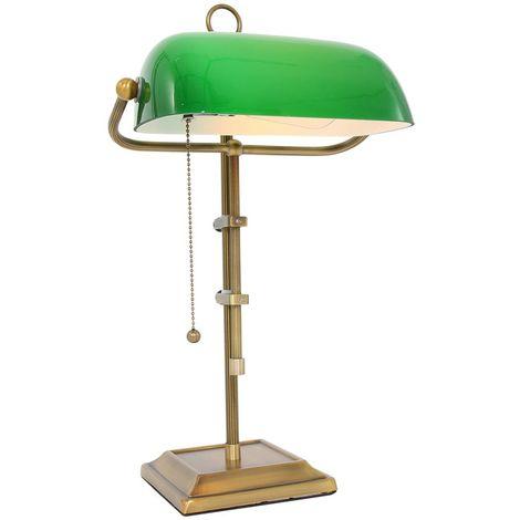 Lampe de bureau, bronze, abat-jour en verre vert, H 57 cm