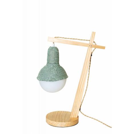Lampe de bureau cosy en bois de hêtre abat jour lainage vert d'eau 30X18X48CM