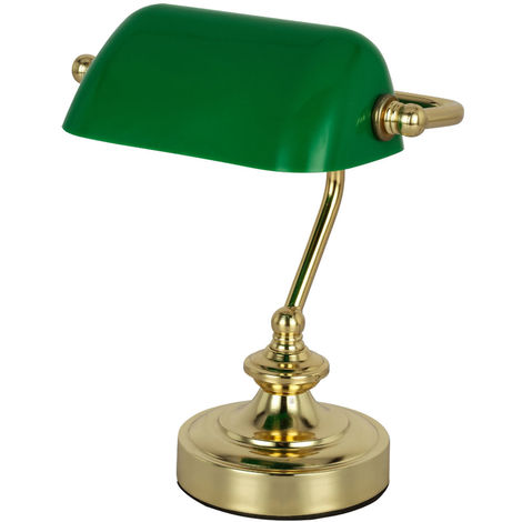 Lampe de bureau en laiton antique avec écran acrylique vert