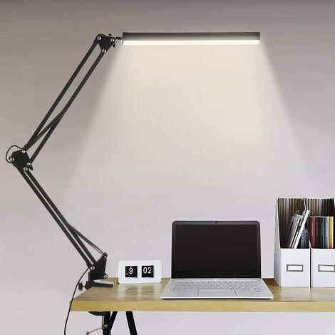 """main image of """"Lampe de Bureau LED, 14W Lampe de Table Architecte Pliable avec Pince, 10 Niveaux de Luminosité X 3 Modes de Couleur, Lampe de table Réglable, Protection des Yeux, 5V/2A CE Adaptateur Incluse"""""""
