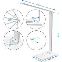 Lampe de bureau LED 5 niveaux de luminosité Port USB Contrôle tactile - Blanc
