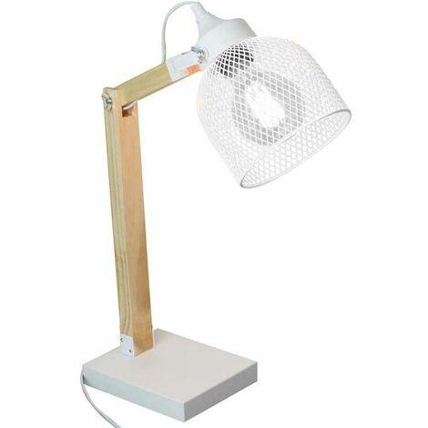 Lampe de bureau style industriel métal et bois Blanc