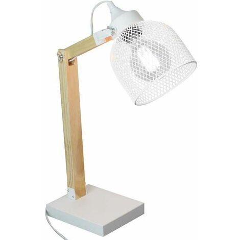Lampe de bureau style industriel métal et bois Blanc - Blanc