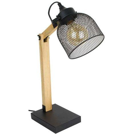 Lampe de bureau style industriel métal et bois Noir - Noir