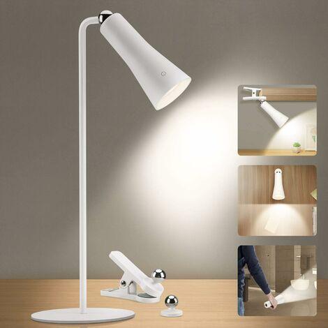 Lampe de Bureau,Liseuse Lampe 3W LED USB Contrôle Tactile 3 Modes de Couleur Protection des Yeux Avec Clip,Ventouse pour Lire,Éclairage de chevet,Bureau etc.