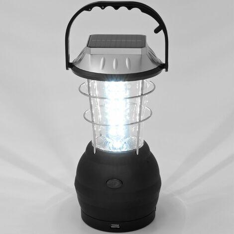 Lampe de camping solaire rechargeable 36 LED - lanterne avec câble USB et crochet panneau solaire chargeur USB socle rond