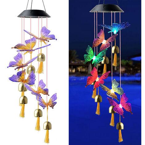 Lampe De Carillon De Vent De Papillon De Couleur Solaire, Lampe Suspendue Exterieure