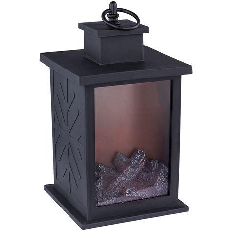 Lampe de cheminée à LED avec effet de feu noir effet déco éclairage lampe de minuterie de salon Globo 93099