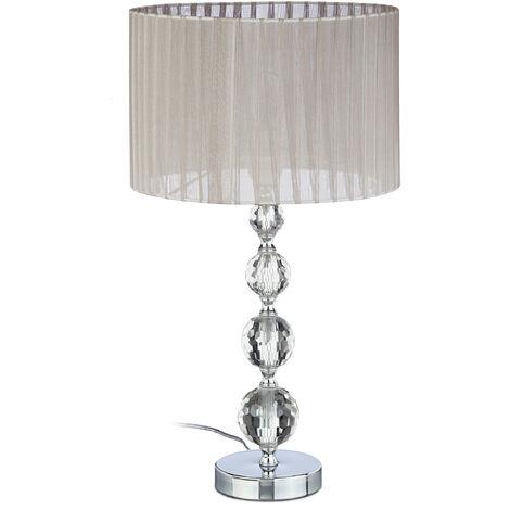 Lampe de chevet abat-jour tissu voile boules verre cristal lampe de nuit HxlxP: 53x29,5x29,5 cm, claire/argent