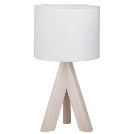Lampe de Chevet Bois Agathe abat jour blanc - Blanc