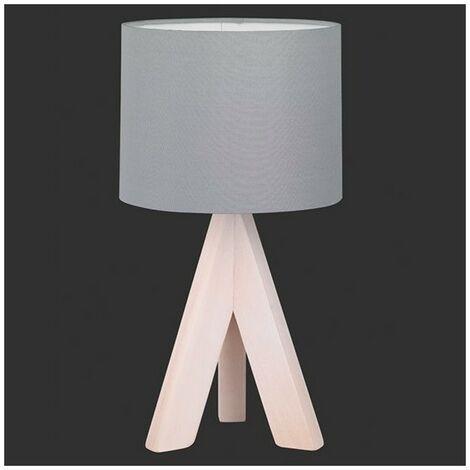 Lampe de Chevet Bois Agathe abat jour gris - Gris