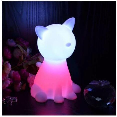 Lampe de chevet chat LED sans fil multicouleurs