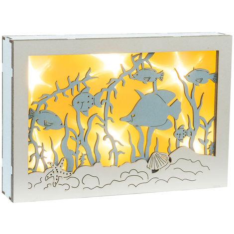 Lampe de chevet design LED Lampe Deco Living Eclairage de chambre à coucher Bois Blanc Bleu, Globo 29849