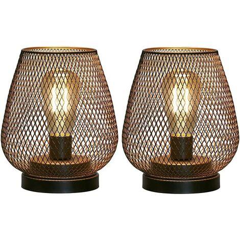 """main image of """"lampe de chevet design pile lampes de table d'extérieur Ensemble de 2 lampes de table à cage en métal lampe à poser salon sans fil les mariages fêtes patio pour intérieur à extérieur"""""""