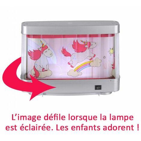 Lampe de chevet fille Licorne rose décor animé