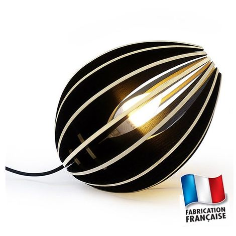 Lampe de chevet luminaire noir design Ovo