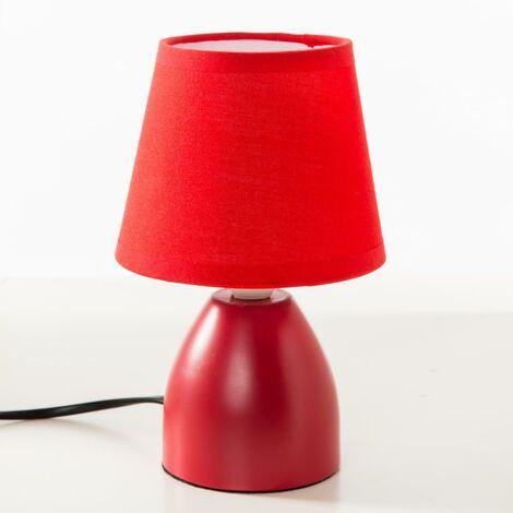 Lampe de chevet pied en métal Rouge