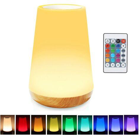 Lampe de chevet tactile avec capteur tactile de 13 couleurs changeantes - Port de charge USB - 5 niveaux d'intensité variable - Pour chambre à coucher, bureau, couloir