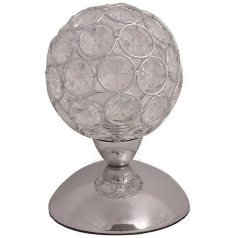 Lampe de chevet tactile boule en chromé et verre cristal – Ø 10 cm