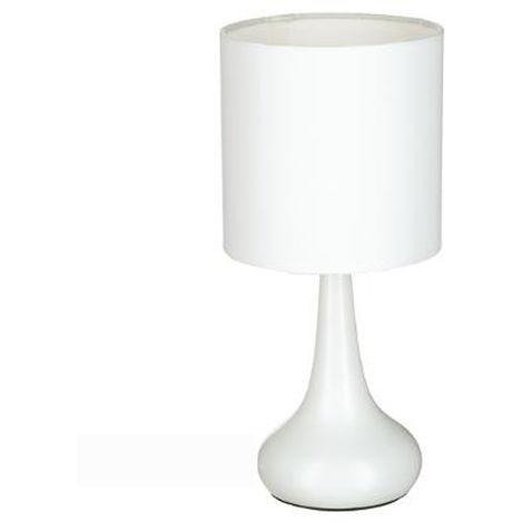 Lampe de chevet tactile de couleur blanche, H 33 x D 15 cm