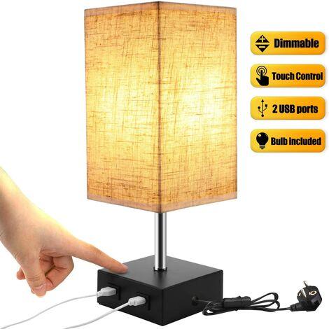 Lampe de Chevet Tactile Dimmable 2 USB Avec Ampoule E27 Abat-jour en Tissu Beige Lampe de Table pour Chevet Bar Chambre Salon Hotêl Café Chambre d'Enfant Salon Bureau (Ampoule Blanc Chaud)