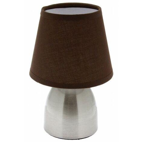 Lampe de chevet touch - Marron - Tactile à 3 intensités