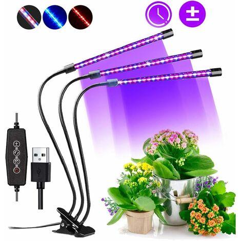 Lampe de Croissance, 60 LED Spectre complet Réglable Lampe Horticole Clipable Lampe de Plante avec 3 minuterie et Fonction Auto ON/OFF Lampe pour Plante Intérieur Fruit Légume Fleur
