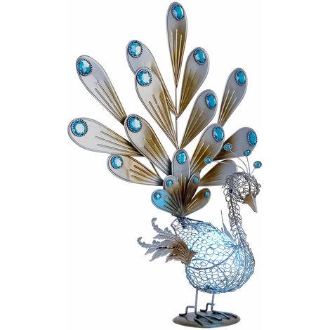 Lampe de déco extérieure solaire à LED Peacock avec pierres décoratives