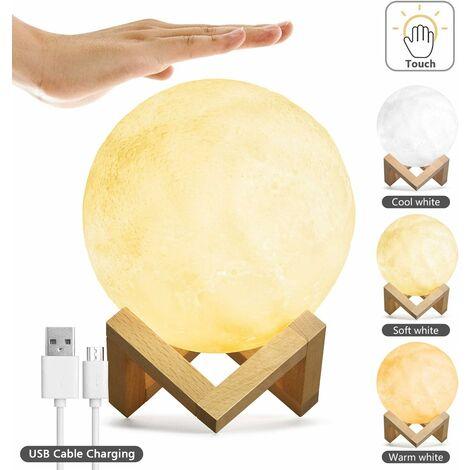Lampe de lune avec contrôle tactile de la luminosité 5,9 cm Impression 3D Lumineuse Lampe Lunaire Veilleuse avec support USB Rechargeable Dimmable 3 couleurs pour enfants Choix de cadeau