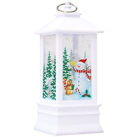 Lampe de Noel flamme lampe bougeoir lumiere blanc chaud, bonhomme de neige blanc (grande taille)