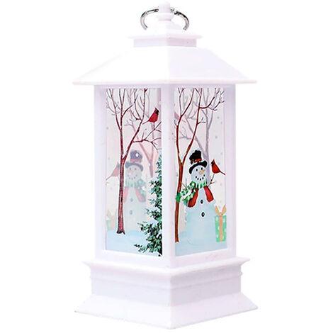 Lampe de Noel flamme lampe bougeoir lumiere blanc chaud, bonhomme de neige blanc (petit)