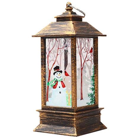 Lampe de Noel flamme lampe bougeoir lumiere blanc chaud, bonhomme de neige bronze (petit)