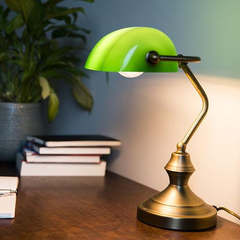 Lampe de notaire Banker vert/cuivre/bronze Qazqa Classique/Antique, Retro Luminaire interieur Rond