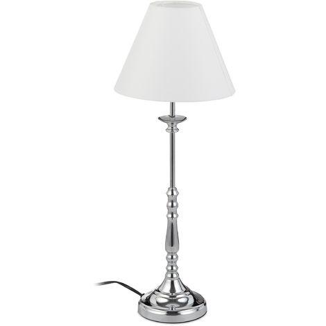 Lampe de nuit vintage, Abat-jour en tissu, reflet chromé, Décoration, E14, Hx D 55 x 21cm, argenté/blanc