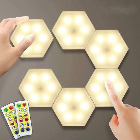 Lampe de Placard 6pcs Eclairage Cabinet DIY Applique Murale Hexagonal Assemblée Lampe Tactile LED Touch Sensitive Sans Fil Télécommande Veilleuse Dimmable Batterie Blanc Chaud