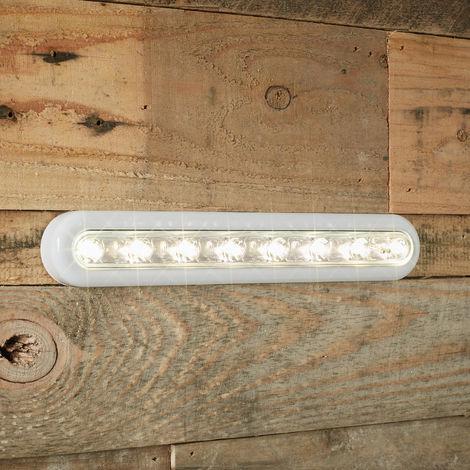 Lampe de Placard 'Tactile' à Piles avec 8 LED Blanc Chaud Orientables et Fixation Autocollante 3M Lights4fun