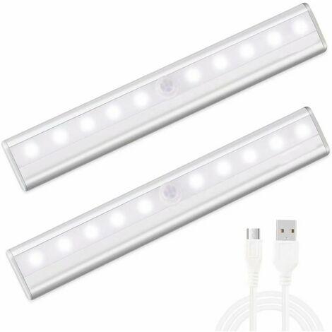 Lampe de Placard USB Rechargeable lampe 10 led detecteur de mouvement pour Cabinet Armoire Penderie Cuisine Couloir Toilettes, Avec Bande Magnetique Adhésive Amovible [2 Pack] (Blanc)