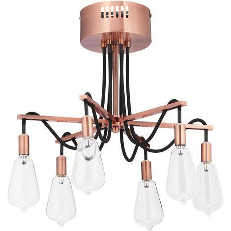 Lampe de plafond, 6 ampoules de 12 V, lampadaire salon concept hors de l'ordinaire, en fer, Hxd 33x41 cm, rose
