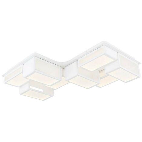 Lampe de Plafond Ahenk Plafonnier - Murale - Blanc en Metal, 83 x 83 x 12 cm, 1 x Bande de LED, 96W, 10080LM, 3000K Lumiere Blanc Naturel