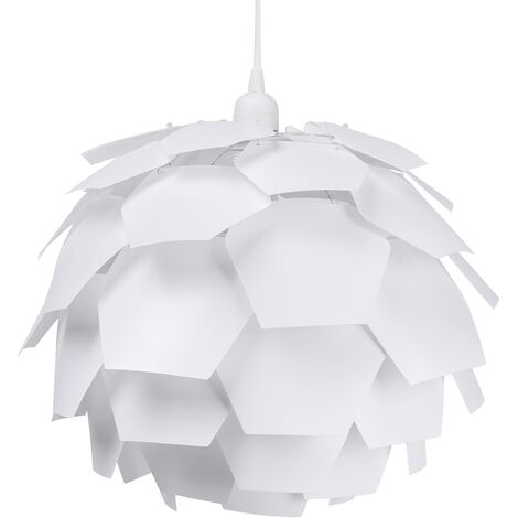 Lampe de plafond blanche avec abat-jour en forme de pomme de pin