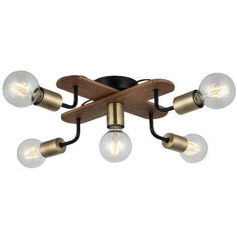 Lampe de Plafond Budak - Plafonnier - du mur - Or, Noir, Bois en Metal, Bois, 50 x 50 x 13 cm, 5 x E27, Max 40W