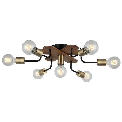 Lampe de Plafond Budak - Plafonnier - du mur - Or, Noir, Bois en Metal, Bois, 57 x 57 x 15 cm, 7 x E27, Max 40W