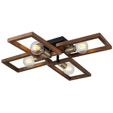 Lampe de Plafond Era - Plafonnier - du mur - Or, Noir, Bois en Metal, Bois, 70 x 66 x 12 cm, 4 x E27, Max 40W