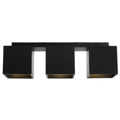 Lampe de Plafond Norma - Plafonnier - du mur - Noir en Bois, Metal, 48 x 12 x 14,5 cm, 3 x GU 10, Max 35W