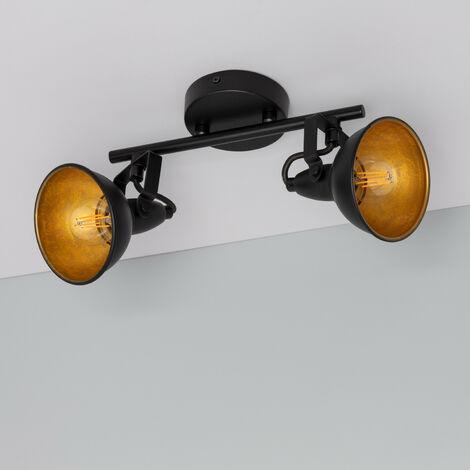 Lampe de Plafond Orientable Emer 2 Spots Noir Noir