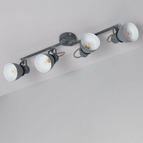 Lampe de Plafond Orientable Emery 4 Spots Gris Gris