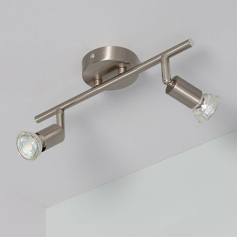 Lampe de Plafond Orientable Oasis 2 Spots Argenté Argent